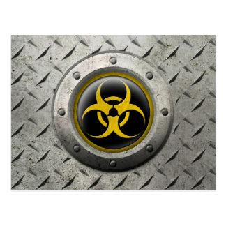 Yellow and Black Industrial Biohazard Steel Effect Postcards