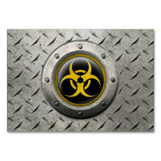 Yellow and Black Industrial Biohazard Steel Effect Table Cards