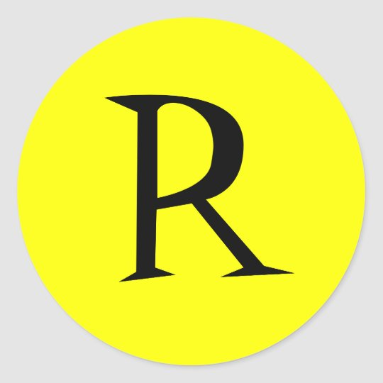YELLOW AND BLACK INITIAL STICKER SEAL