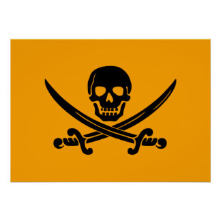 Yellow and Black Jolly Roger Pirate Flag Poster