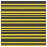 [ Thumbnail: Yellow and Black Lines Pattern Fabric ]