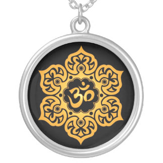 Yellow and Black Lotus Flower Om Silver Plated Necklace