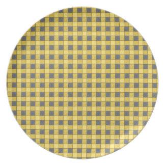 Yellow and Black Mini Plaid Check Plate