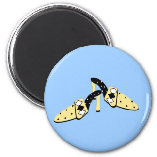 Yellow and Black Mules 2 Inch Round Magnet
