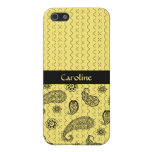 Yellow and Black Paisley iPhone 5 Case
