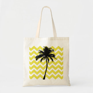 Yellow and Black Palm Tree Tote Bag