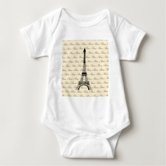 Yellow and Black Paris Eiffel Tower Baby Bodysuit