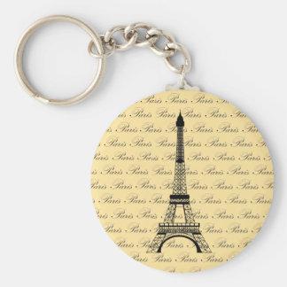 Yellow and Black Paris Eiffel Tower Basic Round Button Keychain
