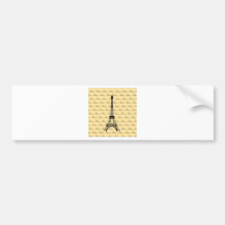 Yellow and Black Paris Eiffel Tower Bumper Sticker