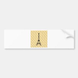 Yellow and Black Paris Eiffel Tower Bumper Sticker