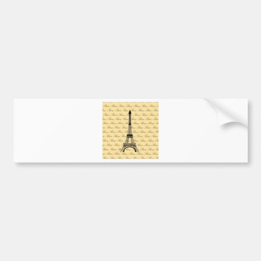 Yellow and Black Paris Eiffel Tower Car Bumper Sticker