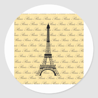 Yellow and Black Paris Eiffel Tower Classic Round Sticker