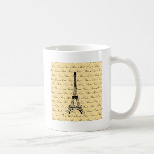Yellow and Black Paris Eiffel Tower Coffee Mug