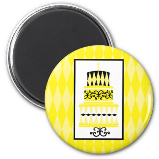 Yellow and Black Party Cake 2 Inch Round Magnet