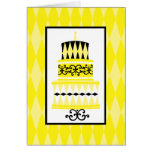 Yellow and Black Party Cake Card