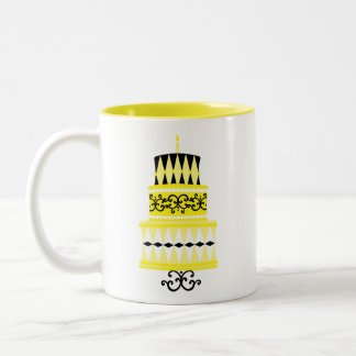 Yellow and Black Party Cake Two-Tone Coffee Mug