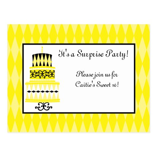 Yellow and Black Party Cake Postcards