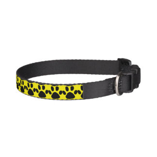 Yellow and Black Paw Print Dog Collar