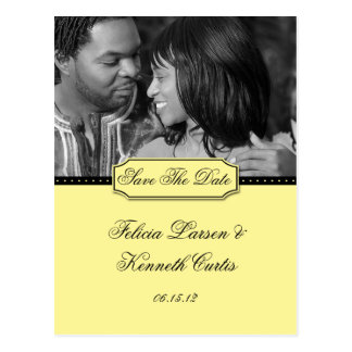 Yellow and Black Photo Save The Date Postcard