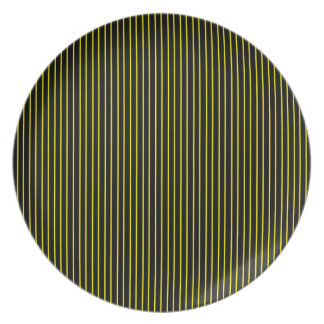Yellow and Black Pinstripe Plate