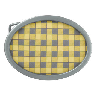 Yellow and Black Plaid Check Belt Buckle