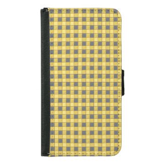 Yellow and Black Plaid Check S5 Wallet Case