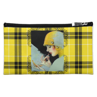 Yellow and Black Plaid Cosmetic Bag