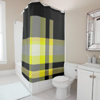 yellow and black plaid shower curtain