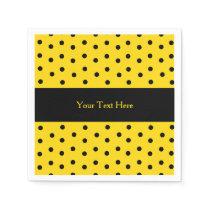 Yellow and Black Polka Dot Custom Paper Napkins