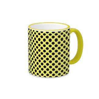 Yellow and black polka dot Mug