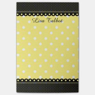 Yellow and Black Polka Dot Post It Notes
