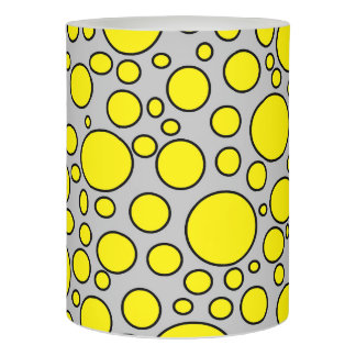 Yellow and Black Polka Dots Grey Flameless Candle