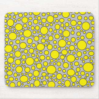 Yellow and Black Polka Dots Grey Mousepad