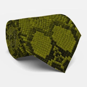 Professional Business Yellow and Black Python Snake Skin Reptile Scales Neck Tie