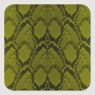Halloween Themed Yellow and Black Python Snake Skin Reptile Scales Square Sticker