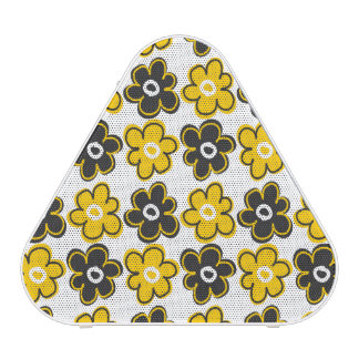Yellow And Black Retro Flowers Pattern Bluetooth Speaker