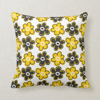Yellow And Black Retro Flowers Pattern Throw Pillow