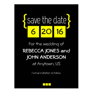 Yellow and black Save the Date postcard