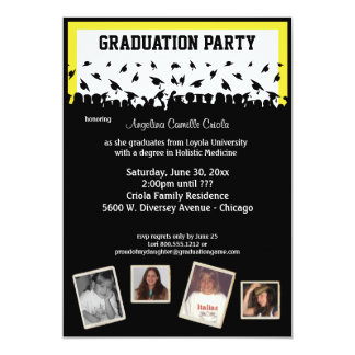 Yellow And Black Silhouette Graduation Party 5x7 Paper Invitation Card