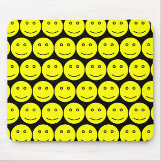 Yellow And Black Smiley Faces Mouse Pads