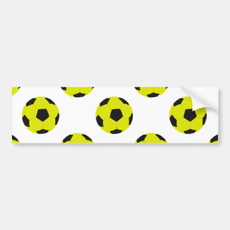 Yellow and Black Soccer Ball Pattern Bumper Stickers