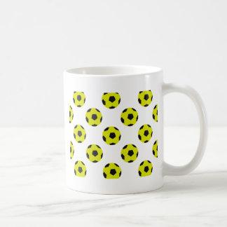 Yellow and Black Soccer Ball Pattern Coffee Mug