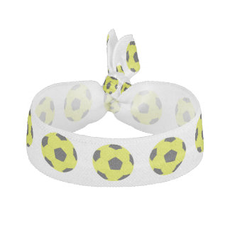 Yellow and Black Soccer Ball Pattern Elastic Hair Tie