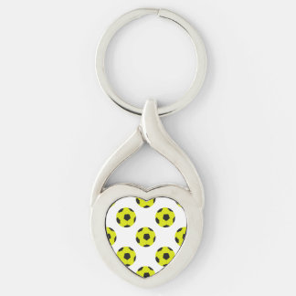 Yellow and Black Soccer Ball Pattern Keychain