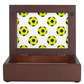 Yellow and Black Soccer Ball Pattern Memory Box