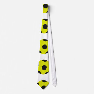 Yellow and Black Soccer Ball Pattern Neck Tie