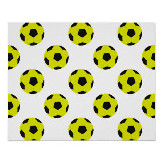 Yellow and Black Soccer Ball Pattern Poster