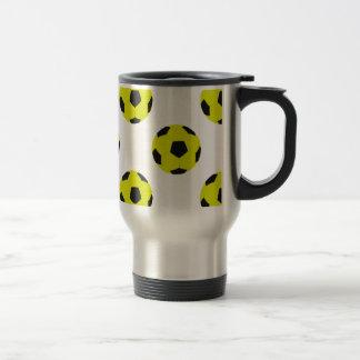 Yellow and Black Soccer Ball Pattern Travel Mug