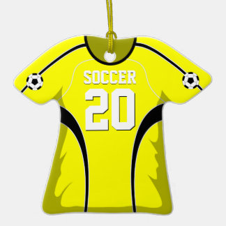 Yellow and Black Soccer Jersey #20 Double-Sided T-Shirt Ceramic Christmas Ornament