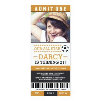 Yellow and Black Soccer Ticket Birthday Invites